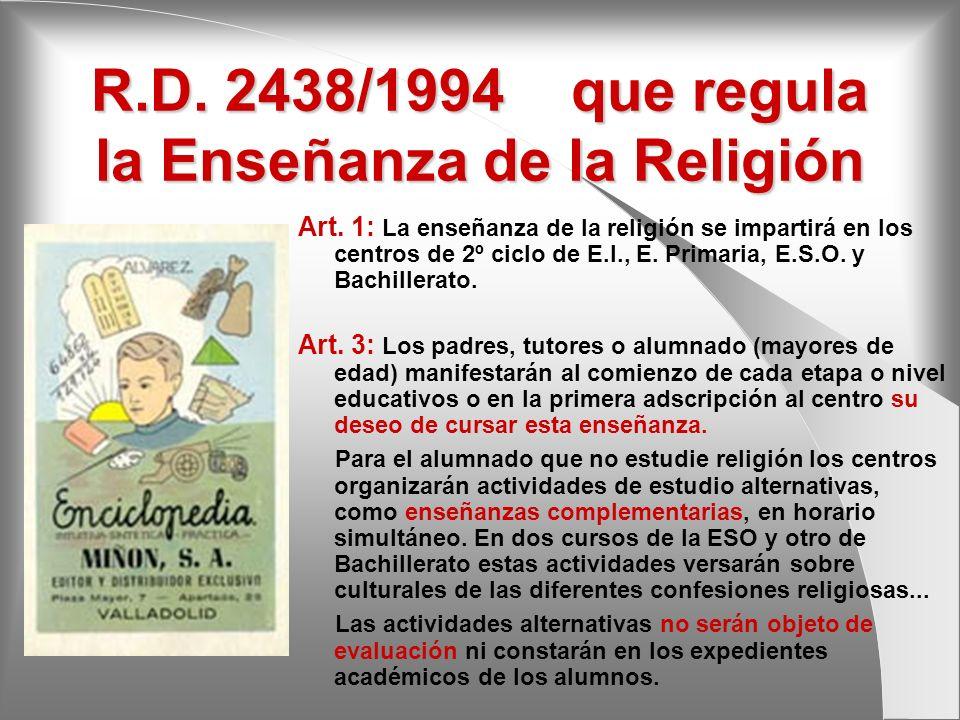 R.D. 2438/1994 que regula la Enseñanza de la Religión