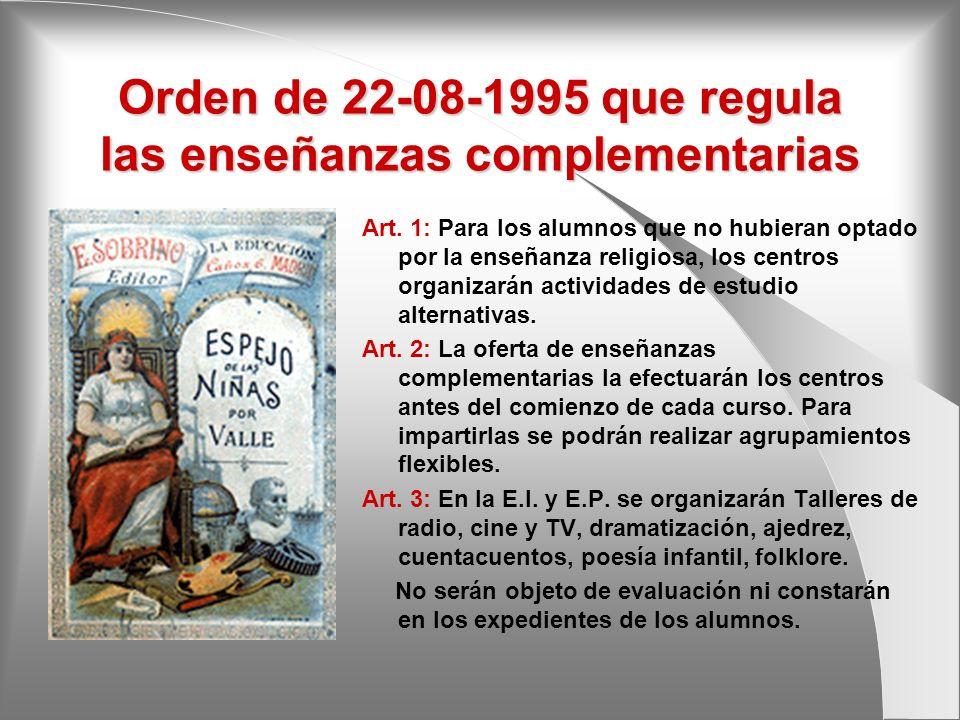Orden de 22-08-1995 que regula las enseñanzas complementarias