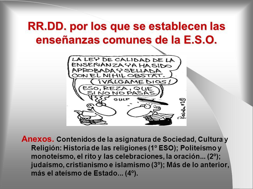 RR.DD. por los que se establecen las enseñanzas comunes de la E.S.O.