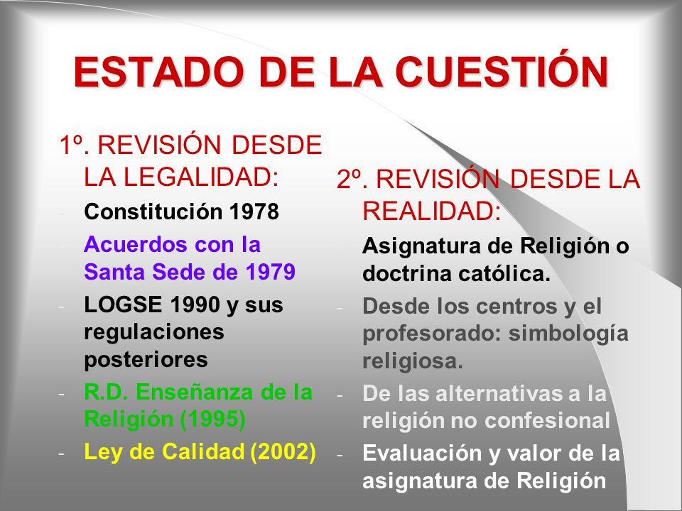 ESTADO DE LA CUESTIÓN 1º. REVISIÓN DESDE LA LEGALIDAD: