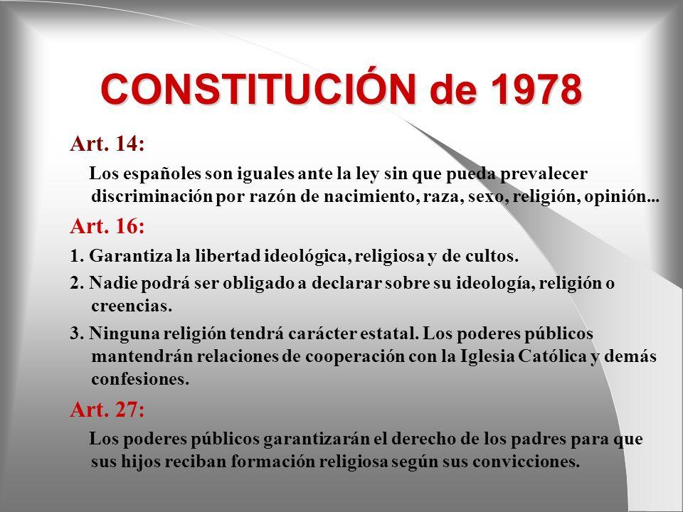 CONSTITUCIÓN de 1978 Art. 14: Art. 16: Art. 27: