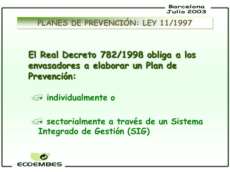 PLANES DE PREVENCIÓN: LEY 11/1997