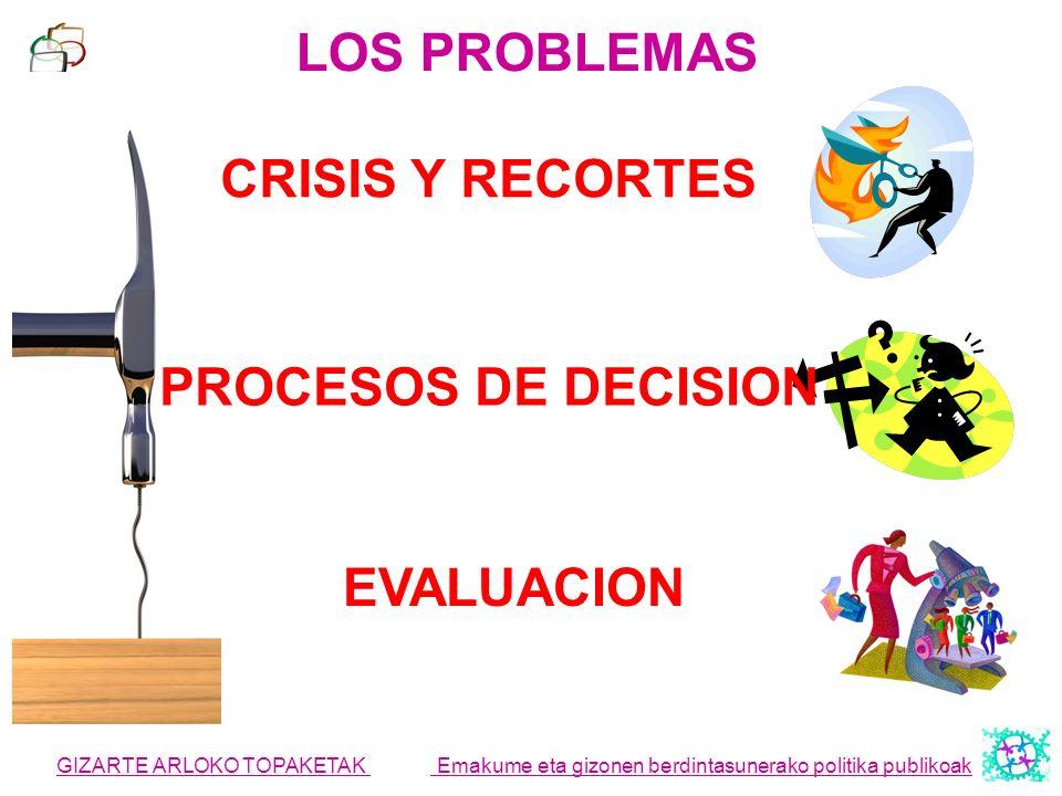 LOS PROBLEMAS CRISIS Y RECORTES PROCESOS DE DECISION EVALUACION