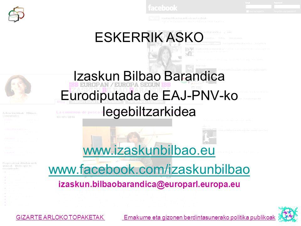 Izaskun Bilbao Barandica Eurodiputada de EAJ-PNV-ko legebiltzarkidea