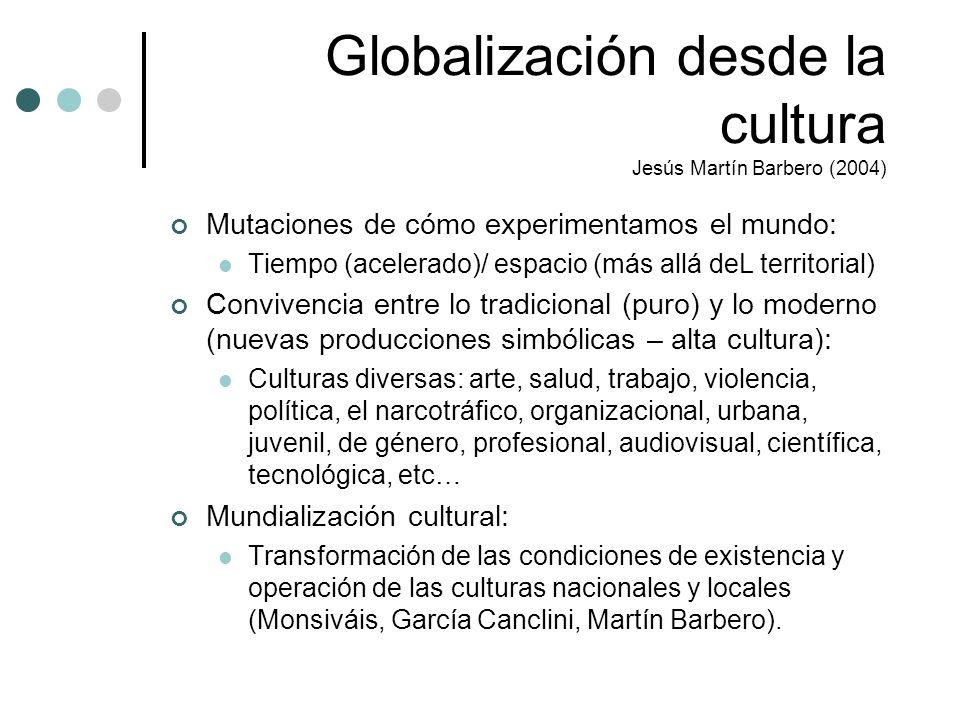 Globalización desde la cultura Jesús Martín Barbero (2004)