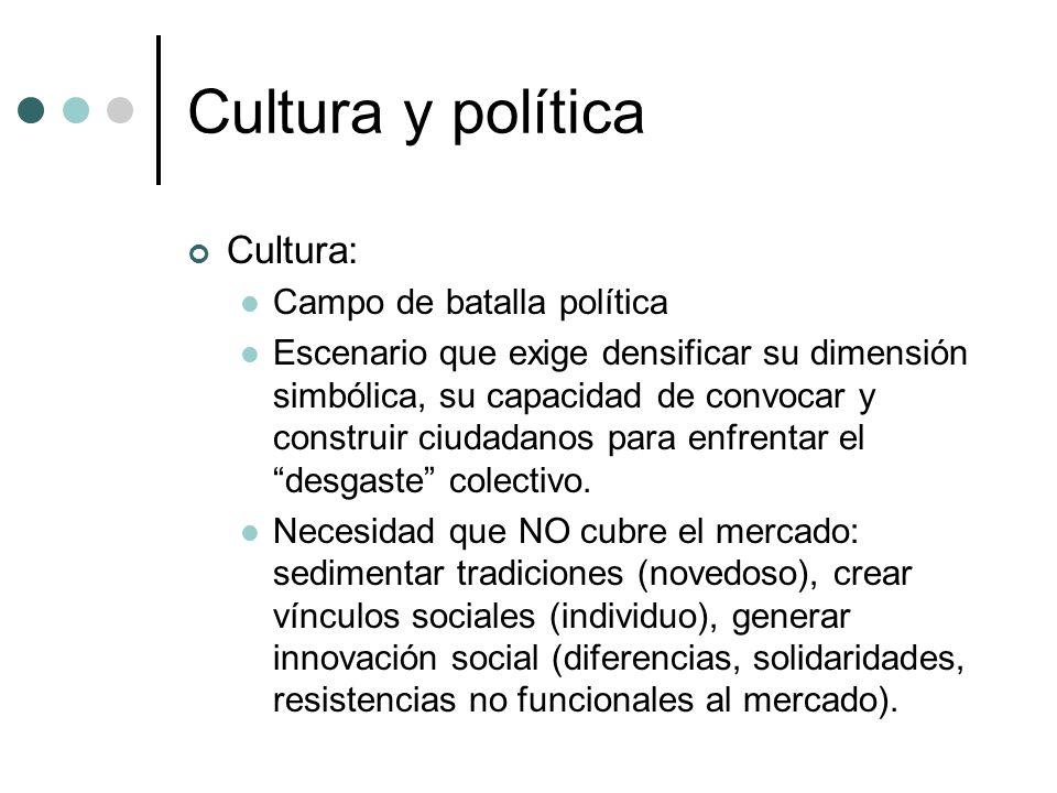Cultura y política Cultura: Campo de batalla política