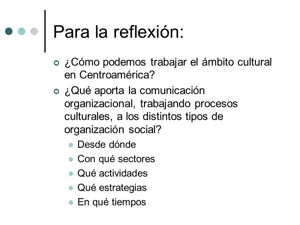 Para la reflexión: ¿Cómo podemos trabajar el ámbito cultural en Centroamérica