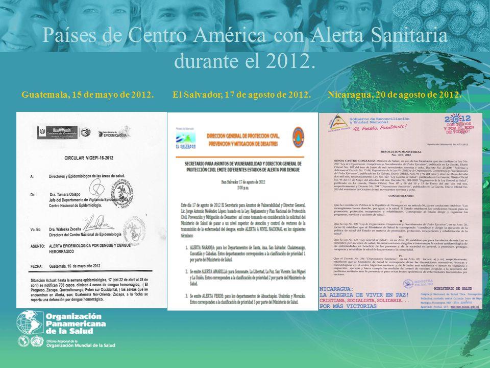 Países de Centro América con Alerta Sanitaria durante el 2012.