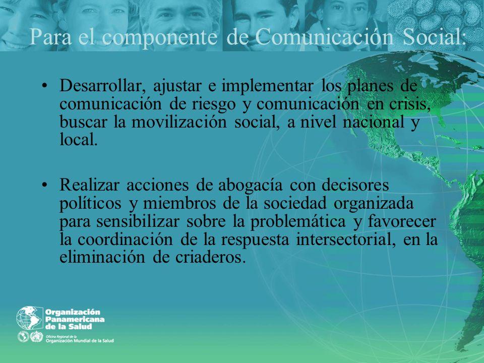 Para el componente de Comunicación Social: