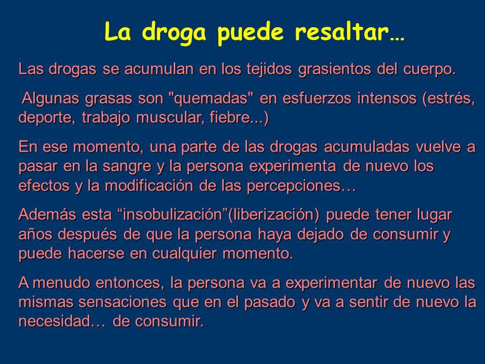 La droga puede resaltar…