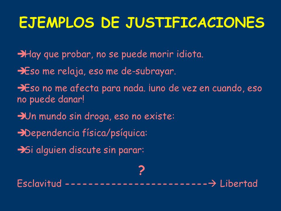 EJEMPLOS DE JUSTIFICACIONES