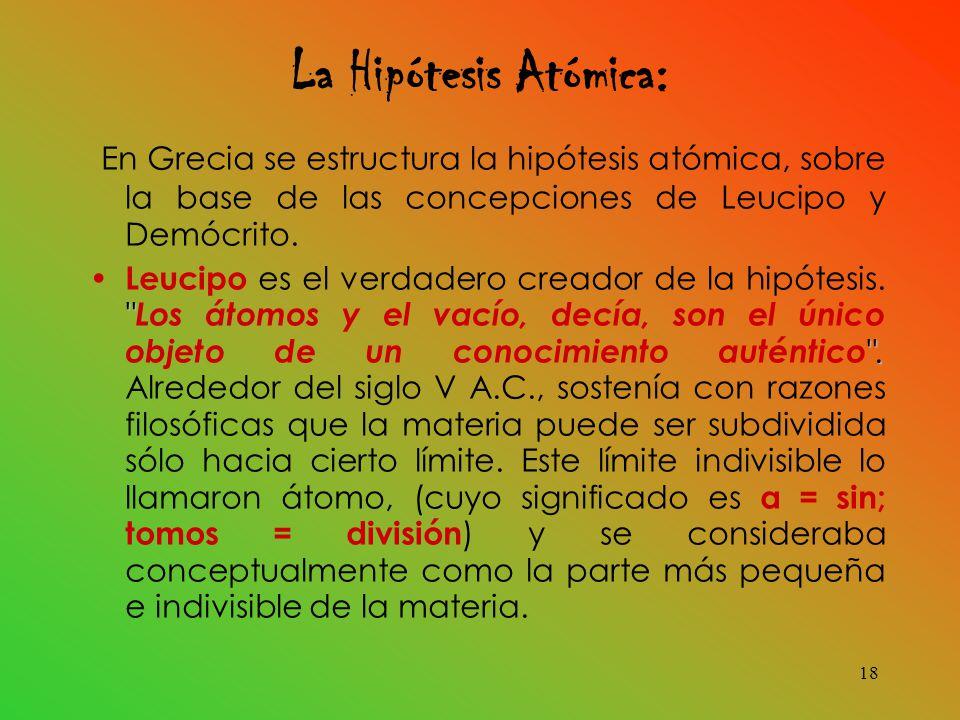 La Hipótesis Atómica: En Grecia se estructura la hipótesis atómica, sobre la base de las concepciones de Leucipo y Demócrito.