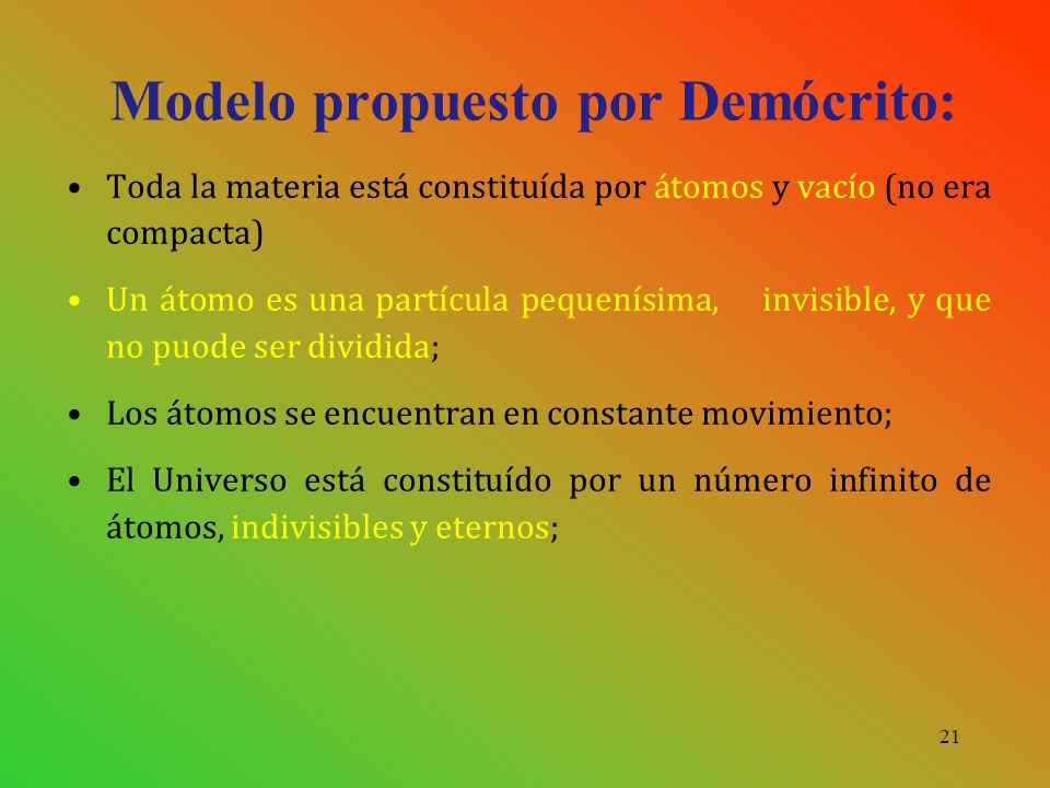 Modelo propuesto por Demócrito: