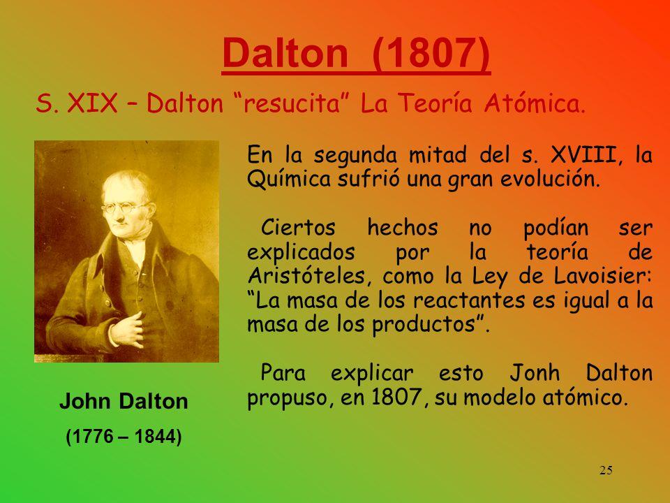 Dalton (1807) S. XIX – Dalton resucita La Teoría Atómica.