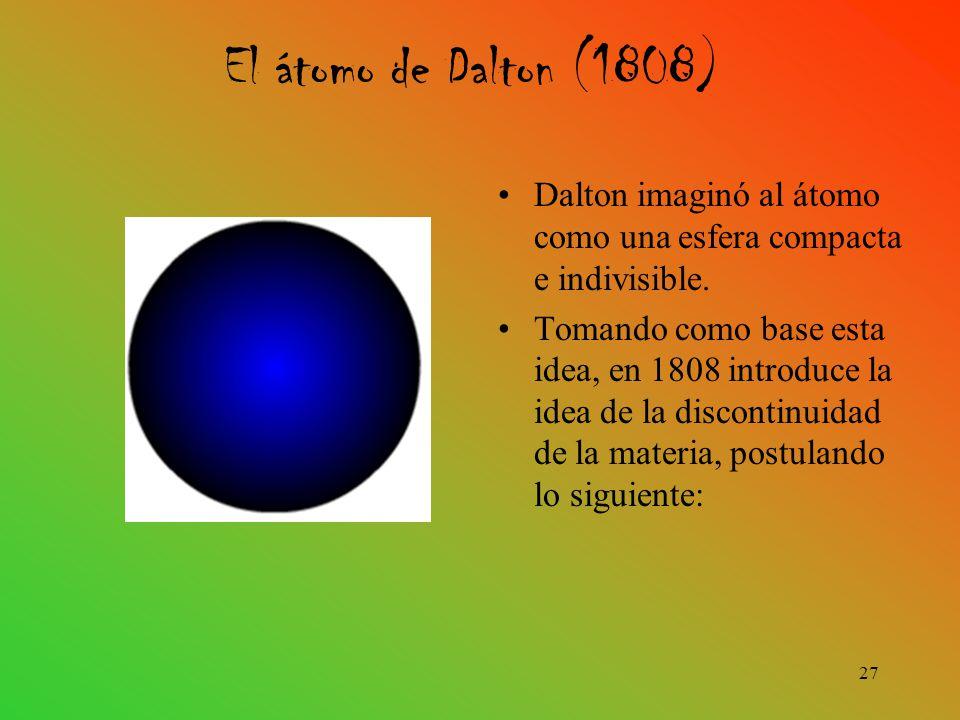 El átomo de Dalton (1808) Dalton imaginó al átomo como una esfera compacta e indivisible.