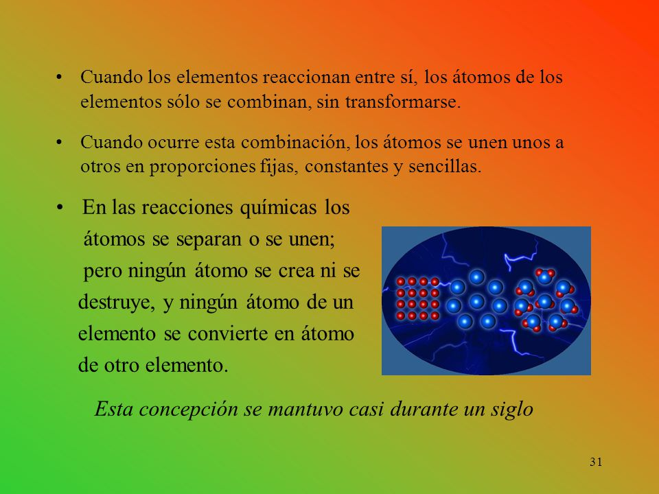 En las reacciones químicas los átomos se separan o se unen;