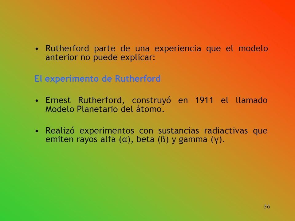 Rutherford parte de una experiencia que el modelo anterior no puede explicar: