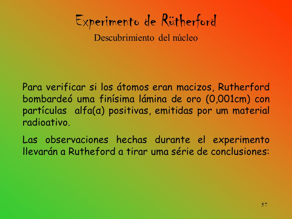 Experimento de Rütherford Descubrimiento del núcleo