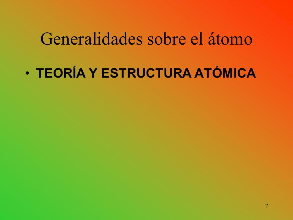 Generalidades sobre el átomo