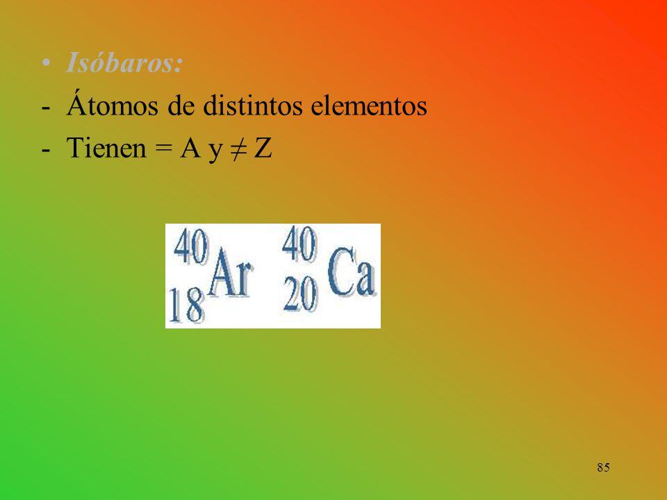 Isóbaros: Átomos de distintos elementos Tienen = A y ≠ Z