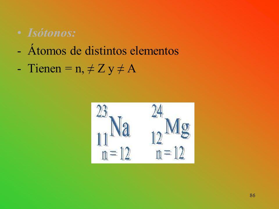Isótonos: Átomos de distintos elementos Tienen = n, ≠ Z y ≠ A