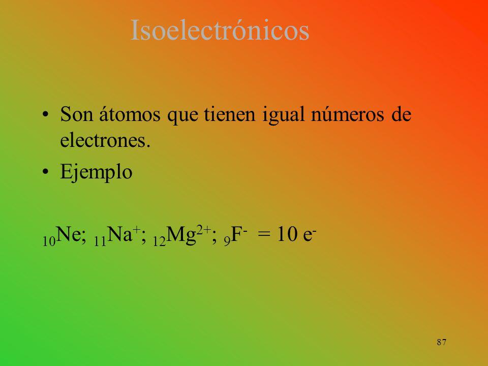 Isoelectrónicos Son átomos que tienen igual números de electrones.