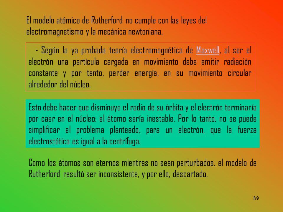 El modelo atómico de Rutherford no cumple con las leyes del electromagnetismo y la mecánica newtoniana,