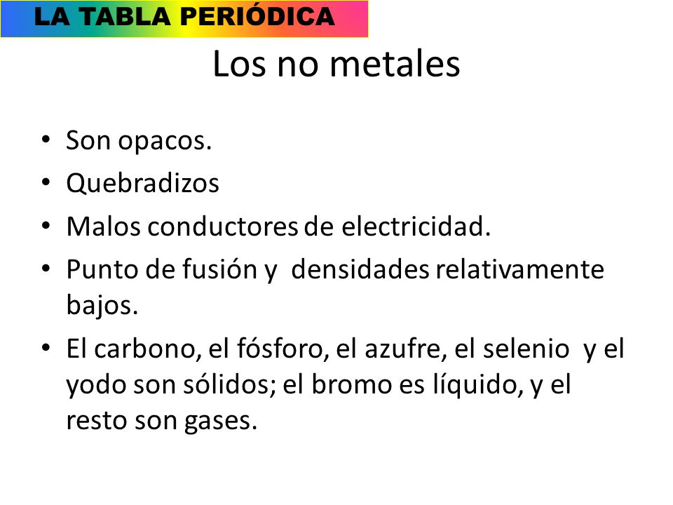 Caractersticas generales ppt video online descargar los no metales son opacos quebradizos 29 la tabla peridica urtaz Images
