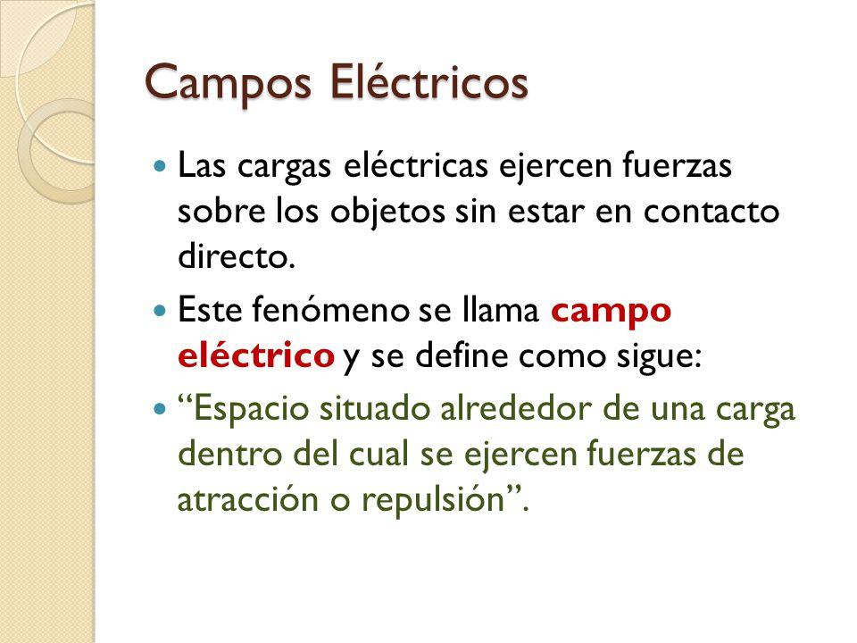 Campos Eléctricos Las cargas eléctricas ejercen fuerzas sobre los objetos sin estar en contacto directo.