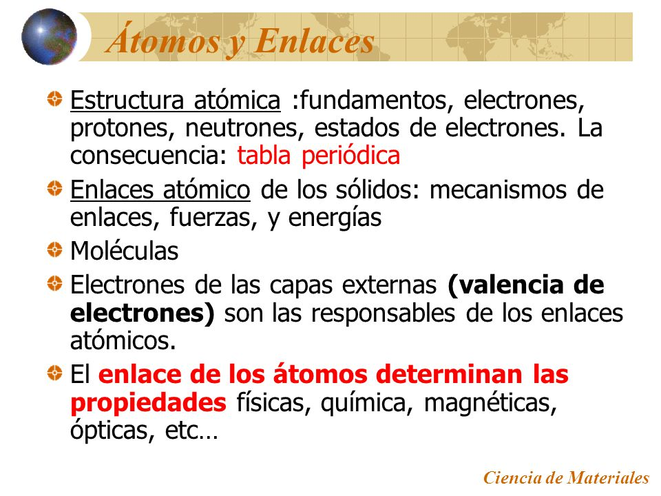 Estructura atmica y enlaces interatmicos ppt descargar tomos y enlaces estructura atmica fundamentos electrones protones neutrones estados de urtaz Image collections
