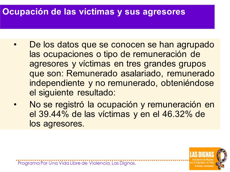 Ocupación de las víctimas y sus agresores