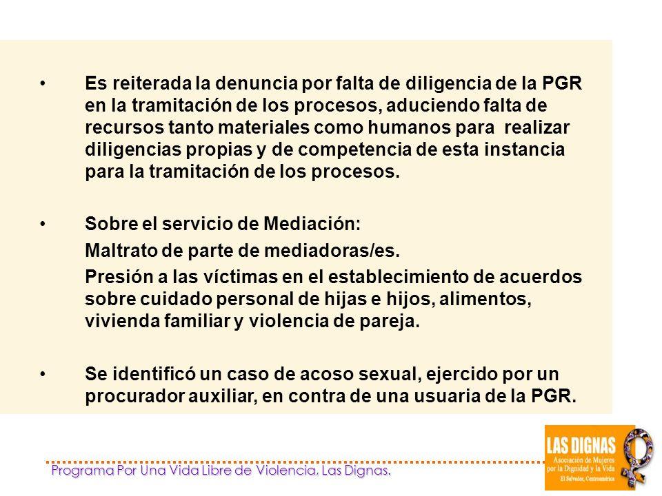 Sobre el servicio de Mediación: Maltrato de parte de mediadoras/es.