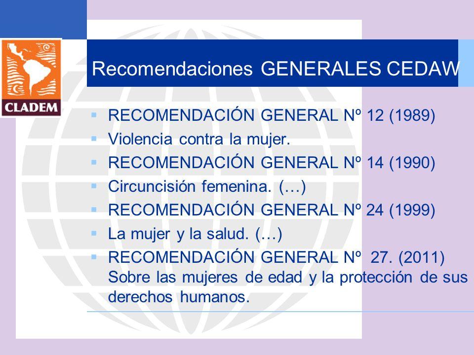 Recomendaciones GENERALES CEDAW