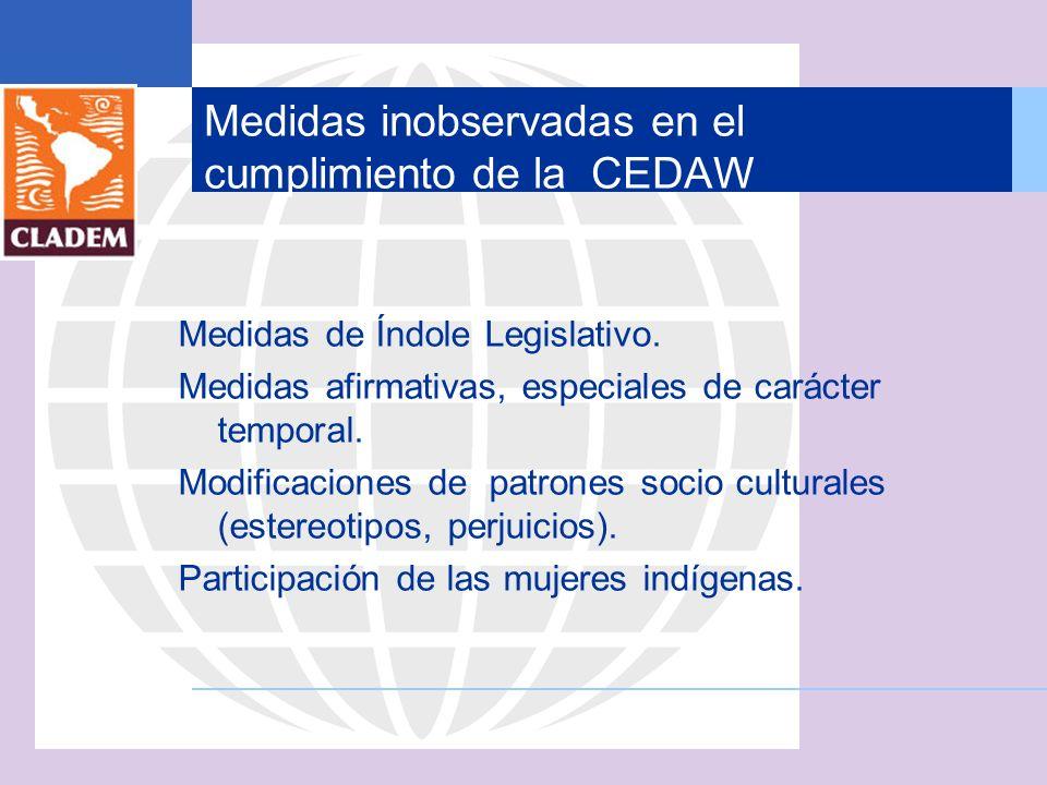 Medidas inobservadas en el cumplimiento de la CEDAW