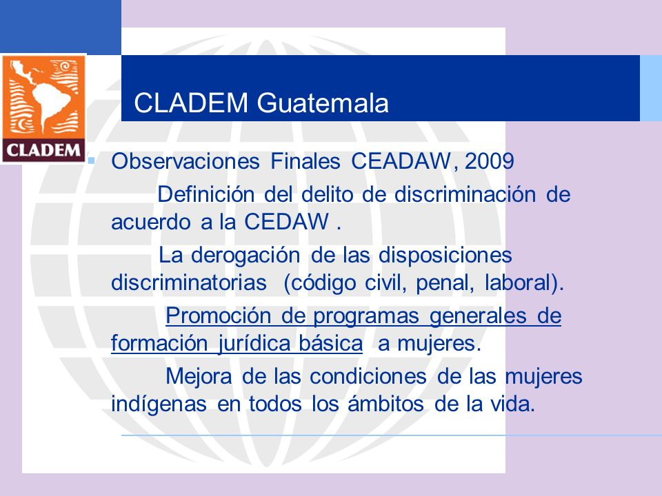 CLADEM Guatemala Observaciones Finales CEADAW, 2009