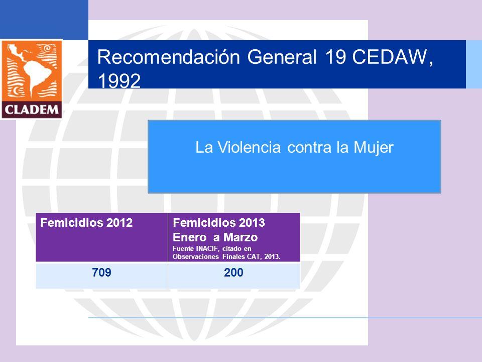 Recomendación General 19 CEDAW, 1992