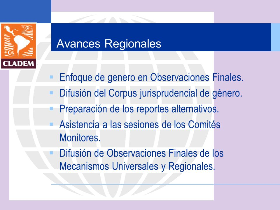 Avances Regionales Enfoque de genero en Observaciones Finales.