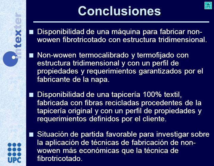 Conclusiones Disponibilidad de una máquina para fabricar non-wowen fibrotricotado con estructura tridimensional.