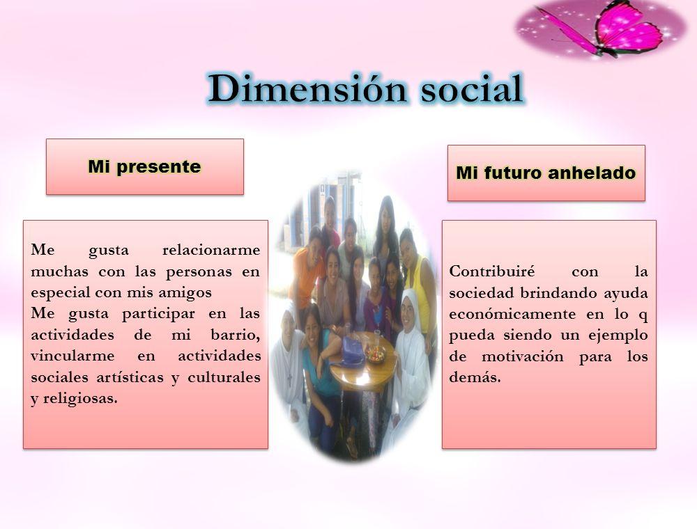 Dimensión social Mi presente Mi futuro anhelado