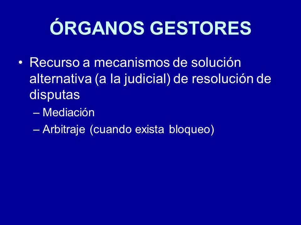 ÓRGANOS GESTORES Recurso a mecanismos de solución alternativa (a la judicial) de resolución de disputas.