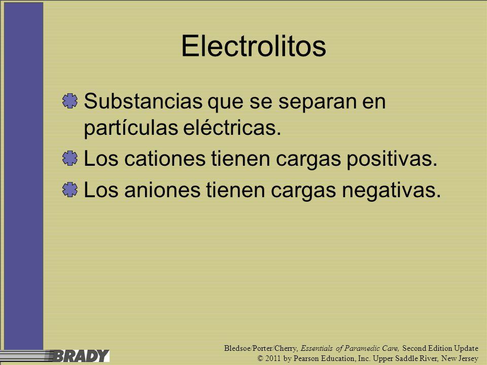 Electrolitos Substancias que se separan en partículas eléctricas.