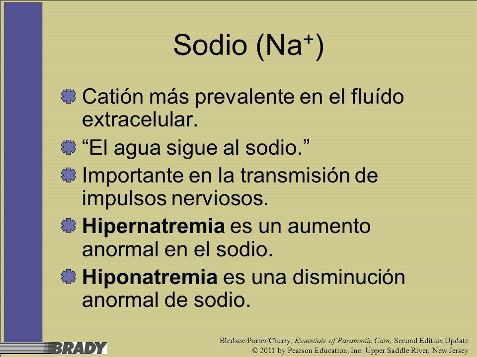 Sodio (Na+) Catión más prevalente en el fluído extracelular.