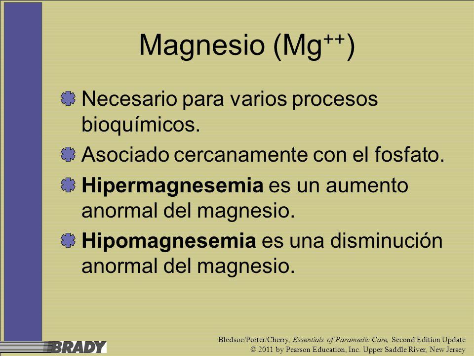 Magnesio (Mg++) Necesario para varios procesos bioquímicos.