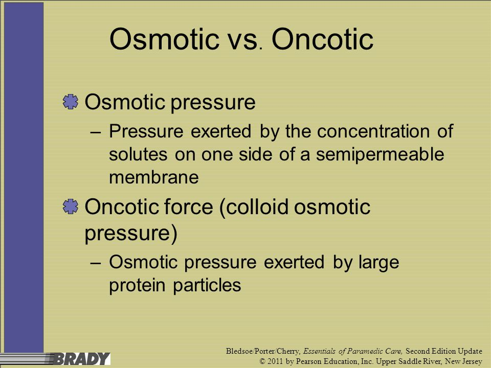 Osmotic vs. Oncotic Osmotic pressure
