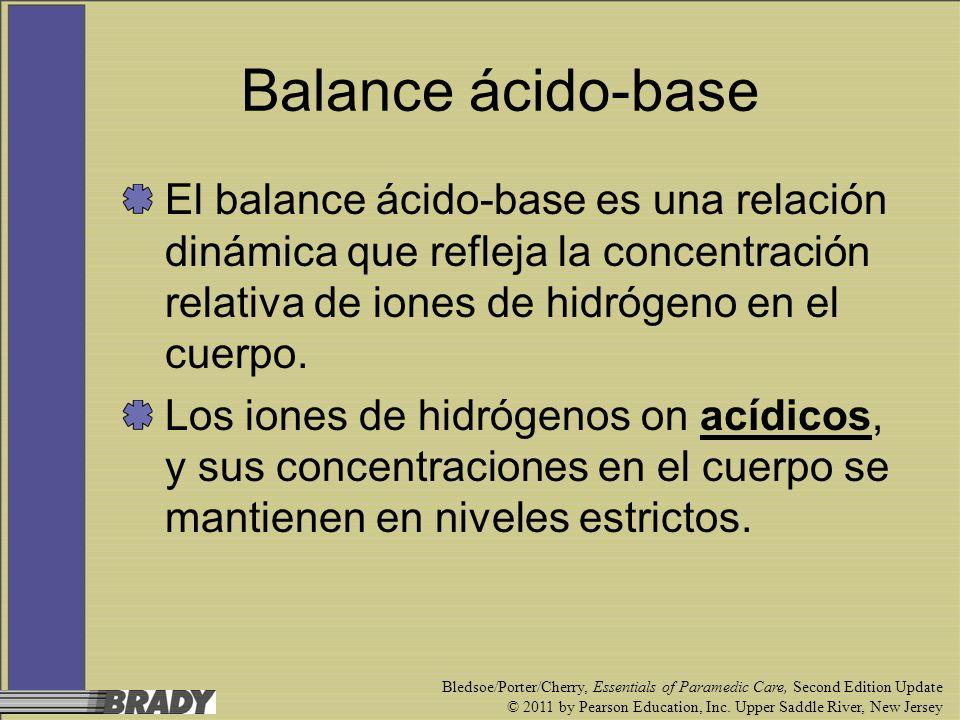 Balance ácido-base El balance ácido-base es una relación dinámica que refleja la concentración relativa de iones de hidrógeno en el cuerpo.