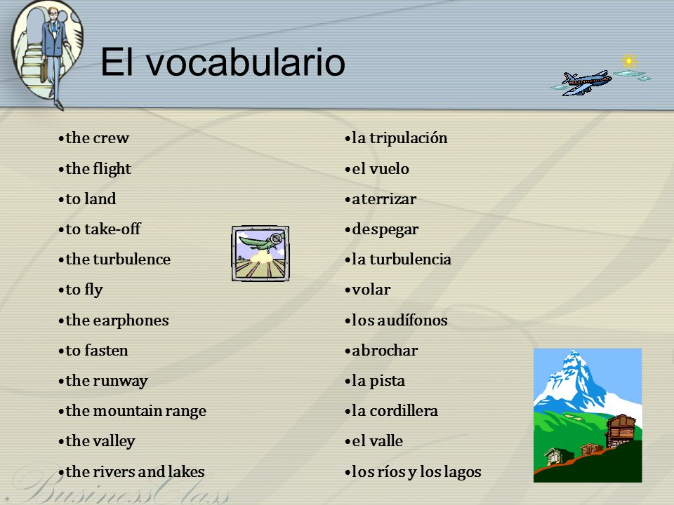 El vocabulario the crew the flight to land to take-off the turbulence
