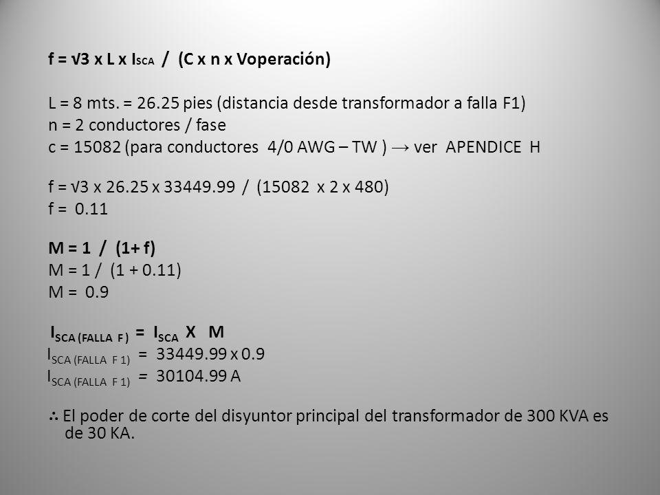 f = √3 x L x ISCA / (C x n x Voperación)