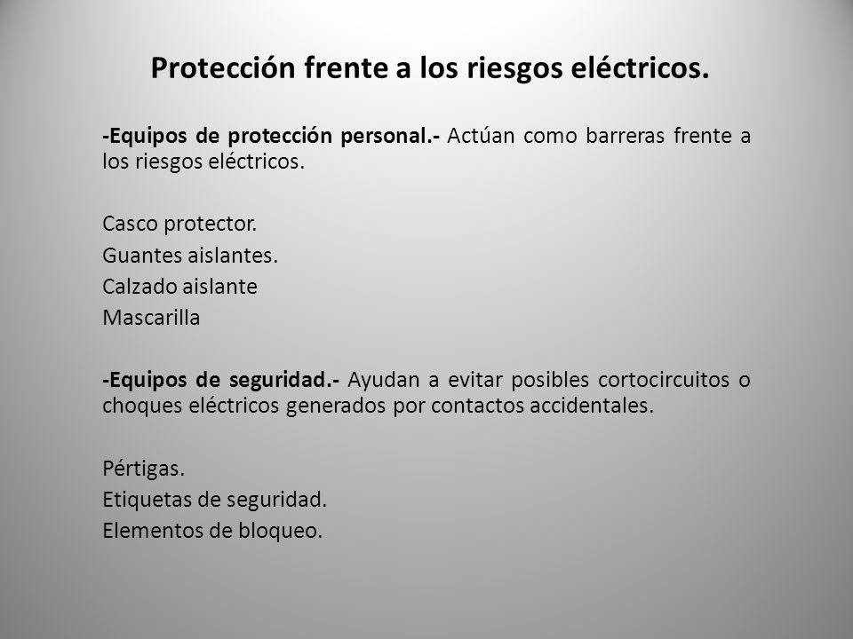 Protección frente a los riesgos eléctricos.
