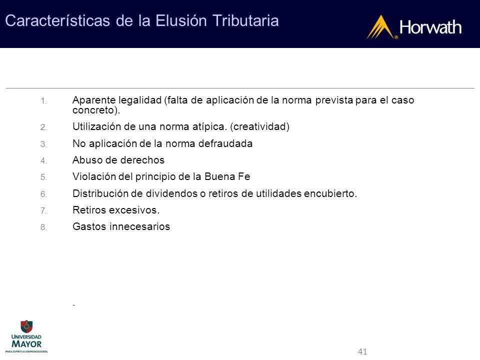 Características de la Elusión Tributaria