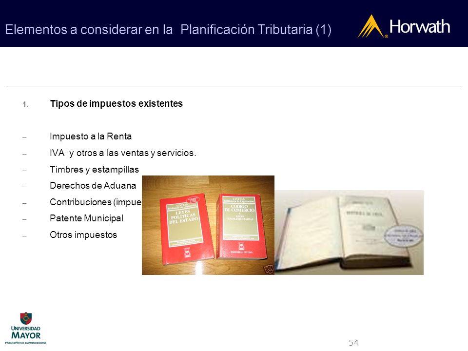 Elementos a considerar en la Planificación Tributaria (1)